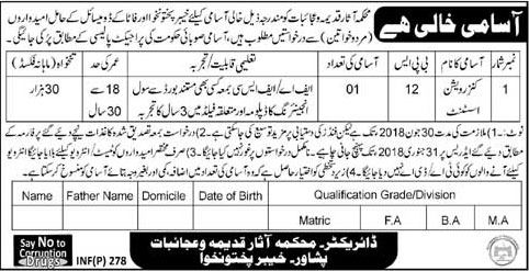 Jobs In Department Of Asar E Qadima 23 Jan 2018