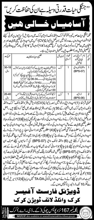 Jobs In Department Of Forest Life KPK 14 Jan 2018