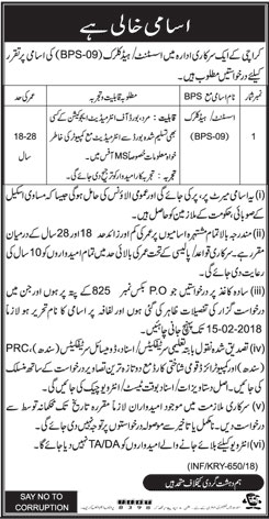 Jobs In Department of Government Of Karachi 03 Feb 2018
