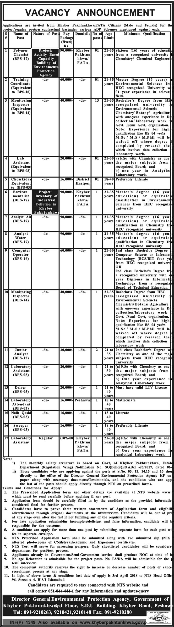 Jobs in Department of Khyber Pakhtunkhwa 19 March 2018