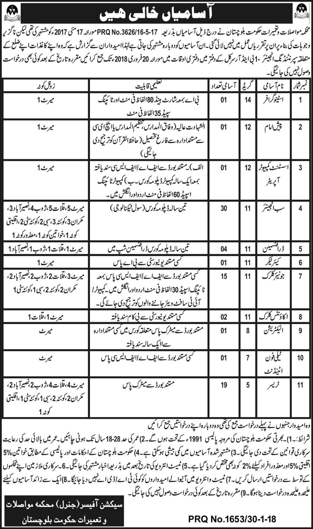 Jobs In Department of Transport and Construction Balochistan 31 Jan 2018