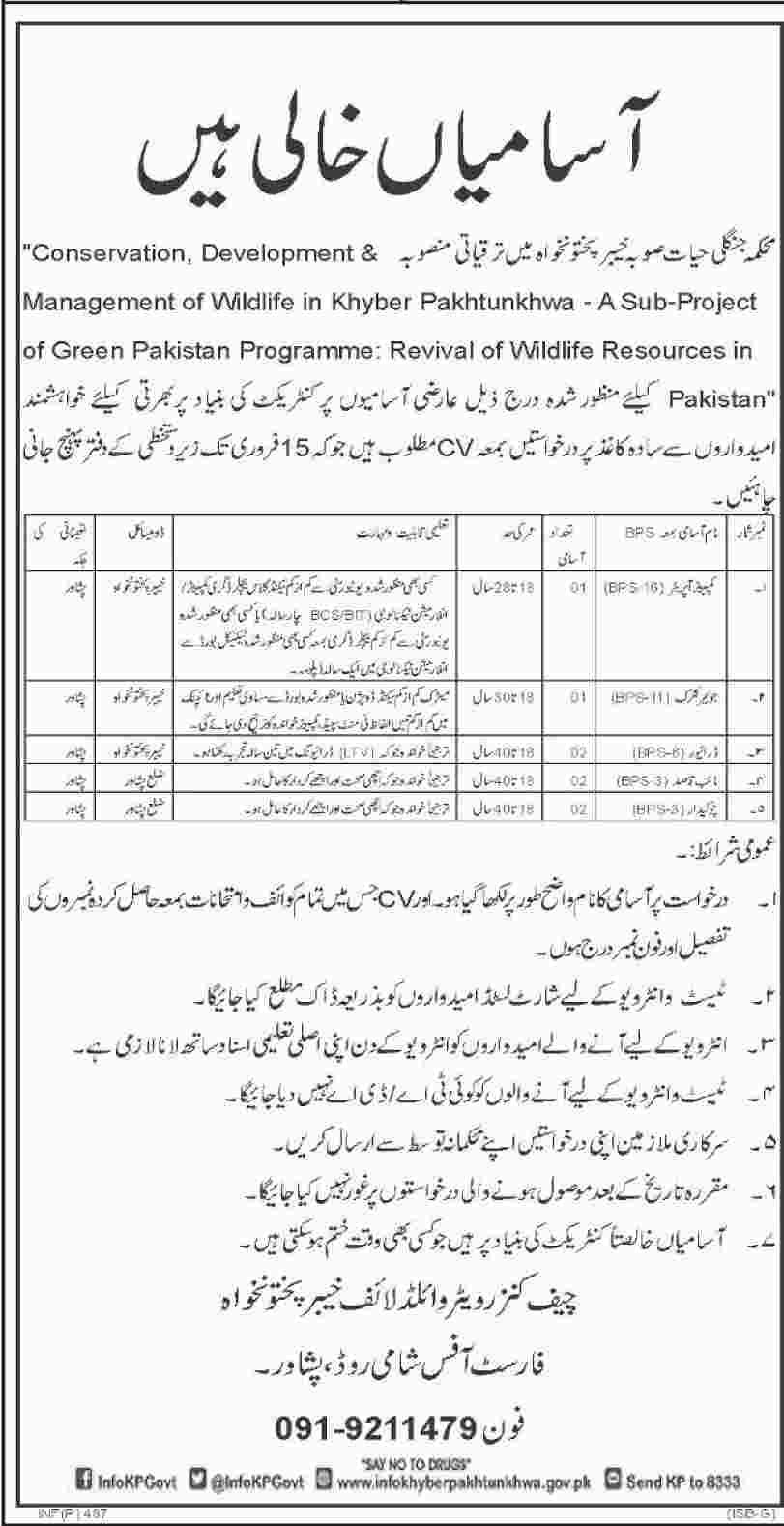 Jobs In Department Of Wild Life Khyber Pakhtunkhawa 30 Jan 2018