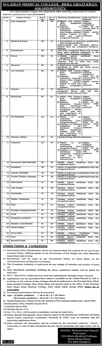 Jobs In Dera Ghazi Khan Medical College 19 Mar 2018