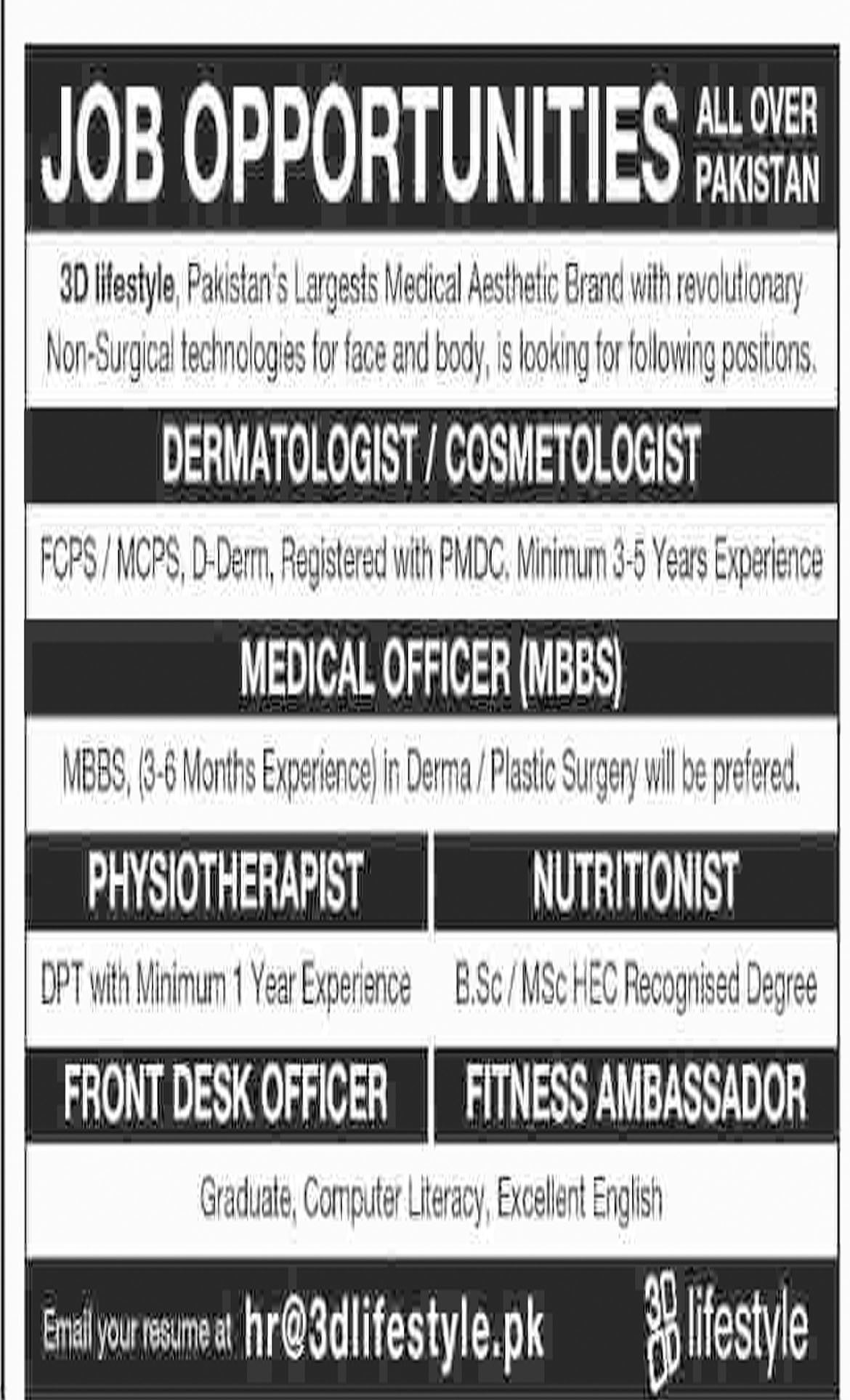 Jobs in Dermatologist, Medical Officer, Physiotherapist, Front Desk Officer, 10 Dec 2018