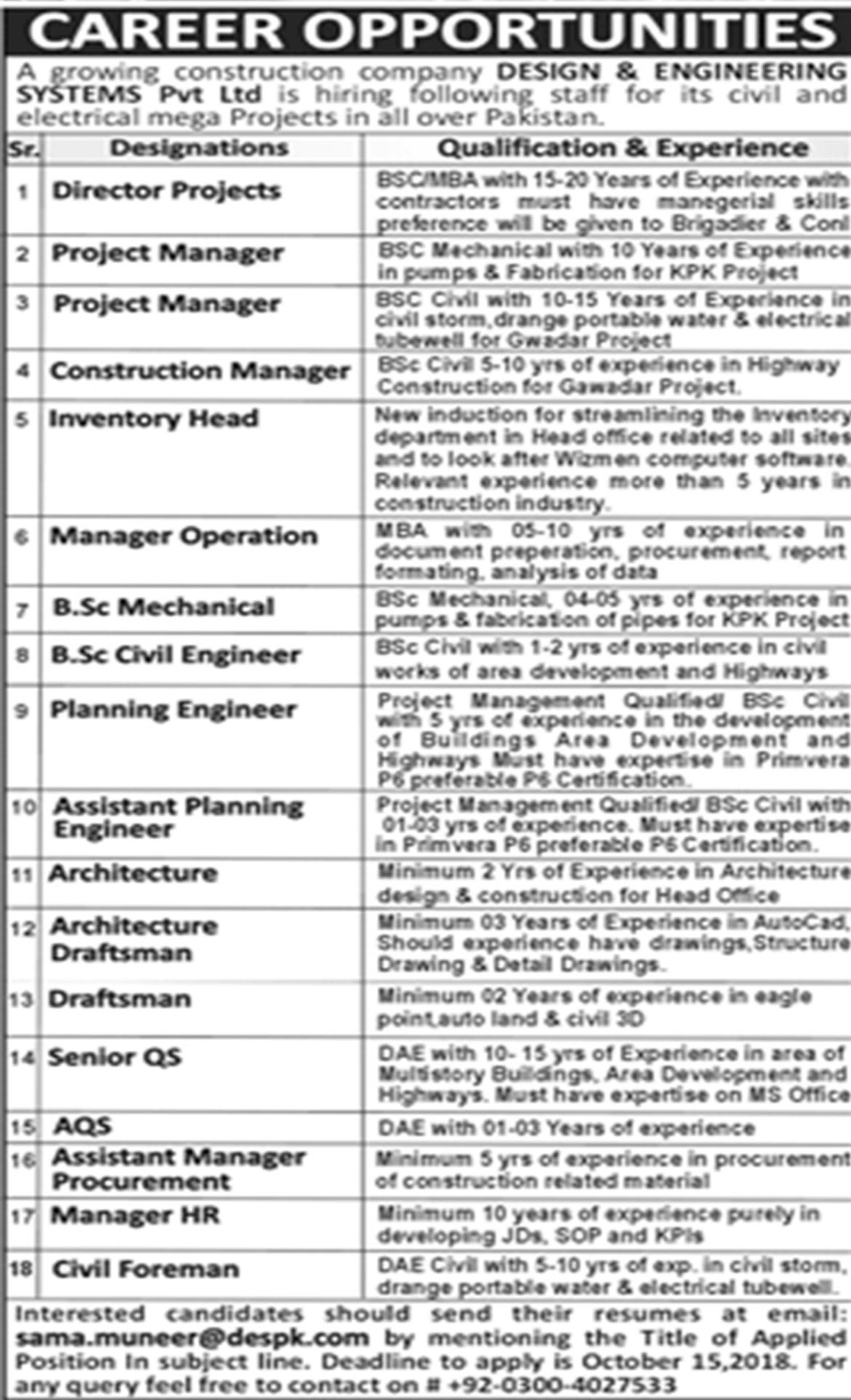 Jobs In Design And Engineering Systems Pvt Limited 02 Oct  2018