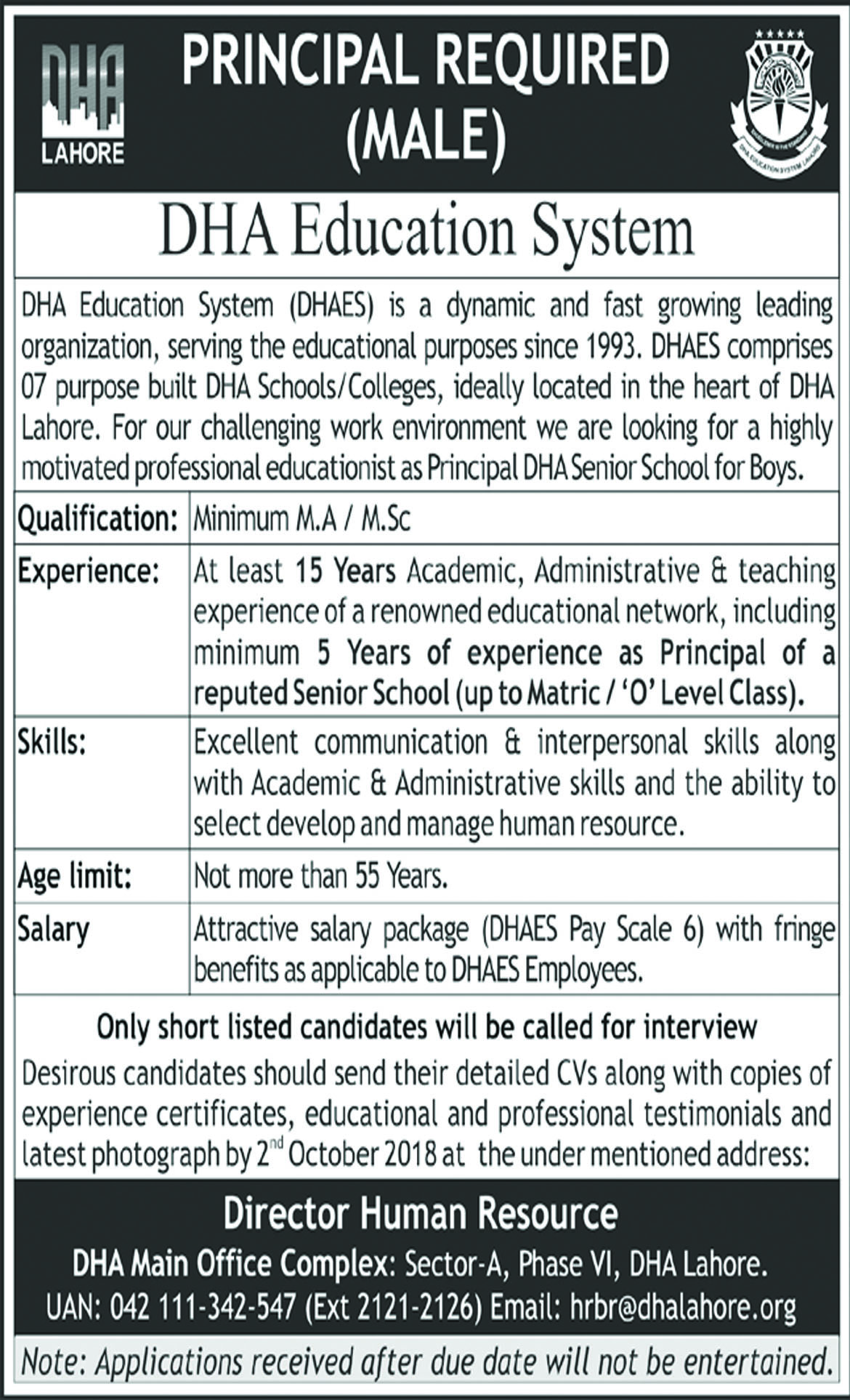 Jobs In DHA Education System 27 Sep 2018