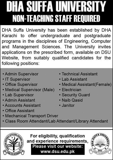 Jobs in DHA Suffa University 21 Jan 2018