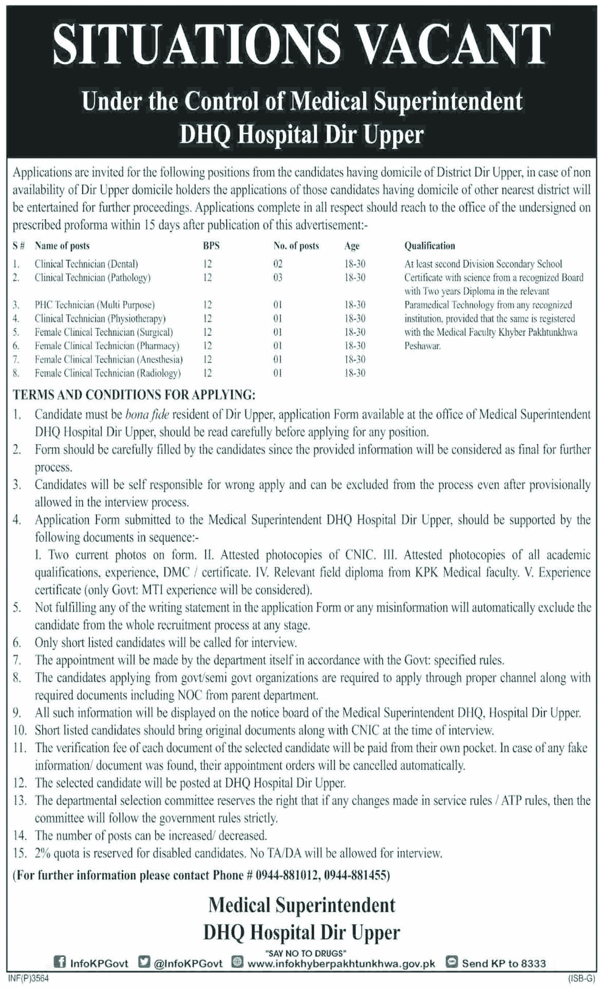 Jobs In DHQ Hospital Dir Upper 10 Sep 2018