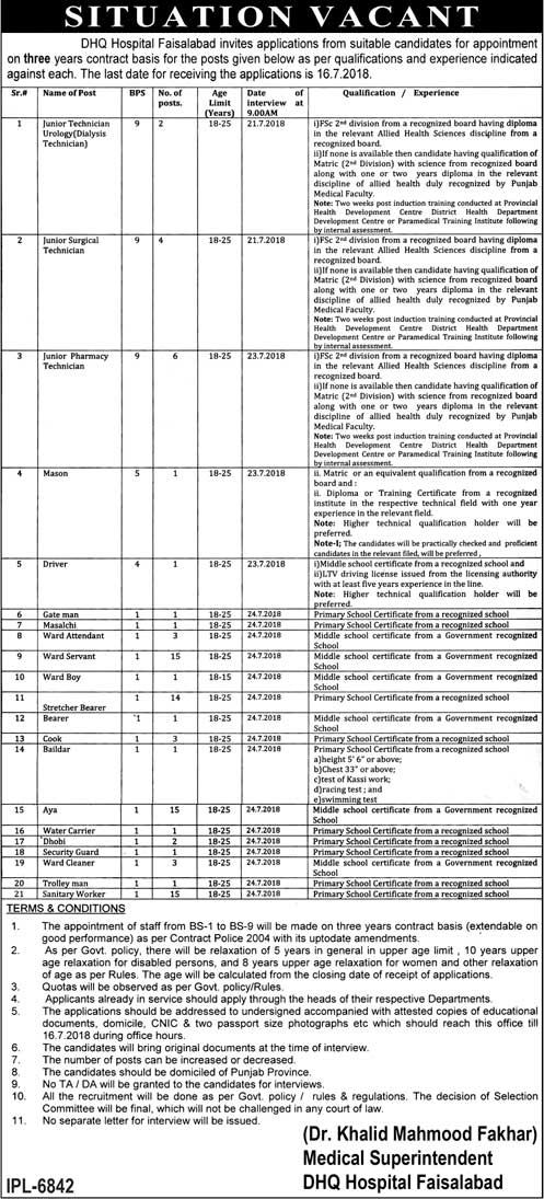 Jobs in DHQ Hospital Faisalabad 02 July 2018