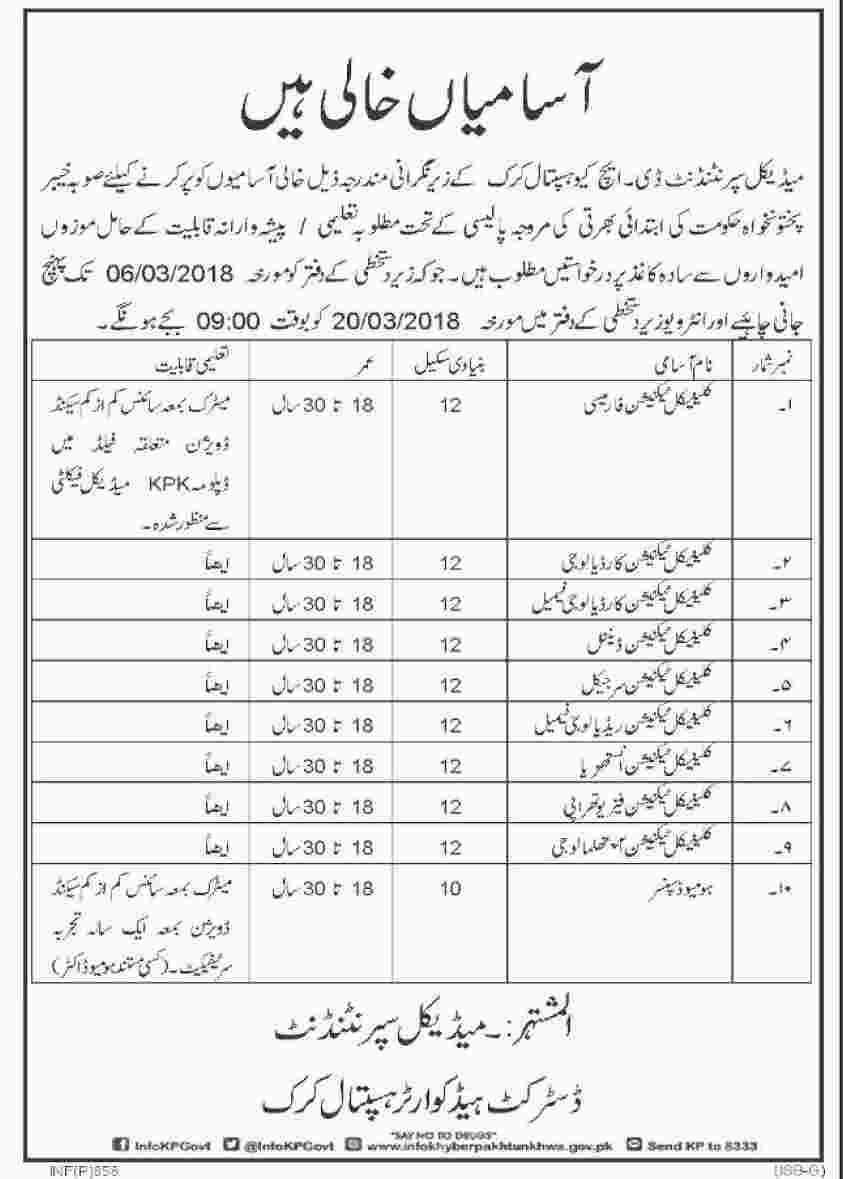Jobs In DHQ Hospital Karak 21 Feb 2018