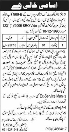 Jobs In Directorate Of Health Services 28 Feb 2018