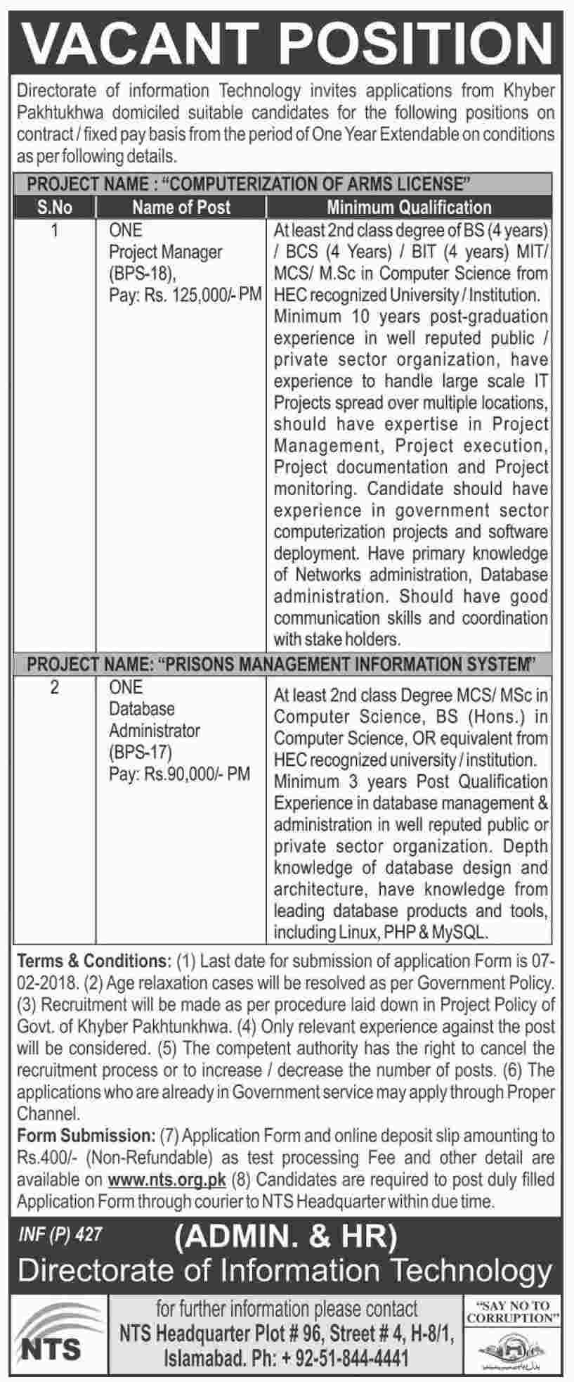 Jobs In Directorate Of Information Technology Govt Of KPK 23 Jan 2018