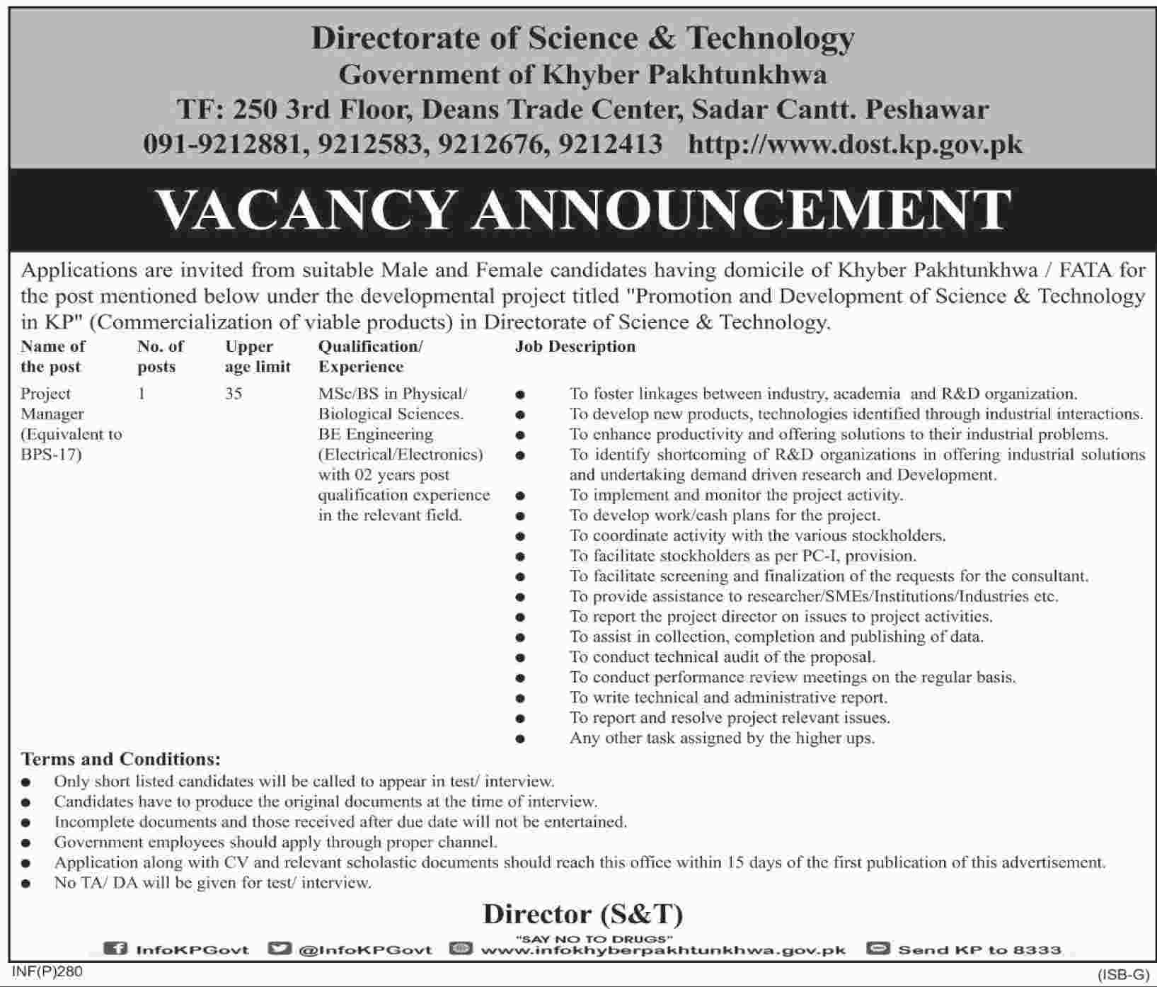 Jobs In Directorate Of Science & Technology 17 Jan 2018