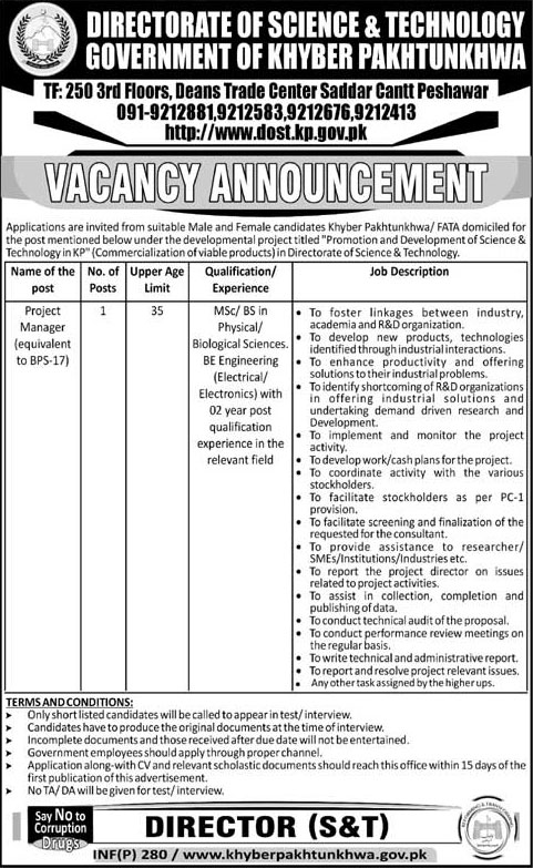 Jobs In Directorate Of Science & Technology 23 Jan 2018