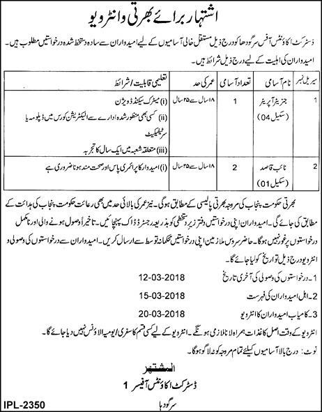 Jobs In District Accounts Office Sargodha 23 Feb 2018