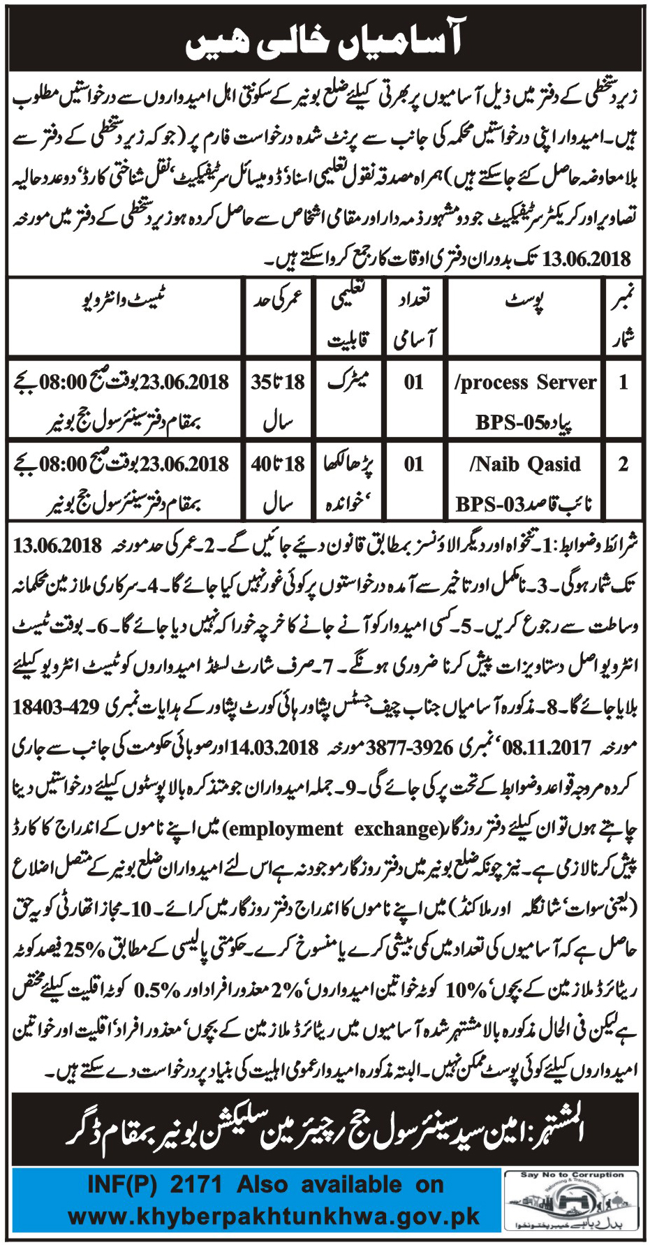 Jobs in District and Session Court in Daggar 05 May 2018