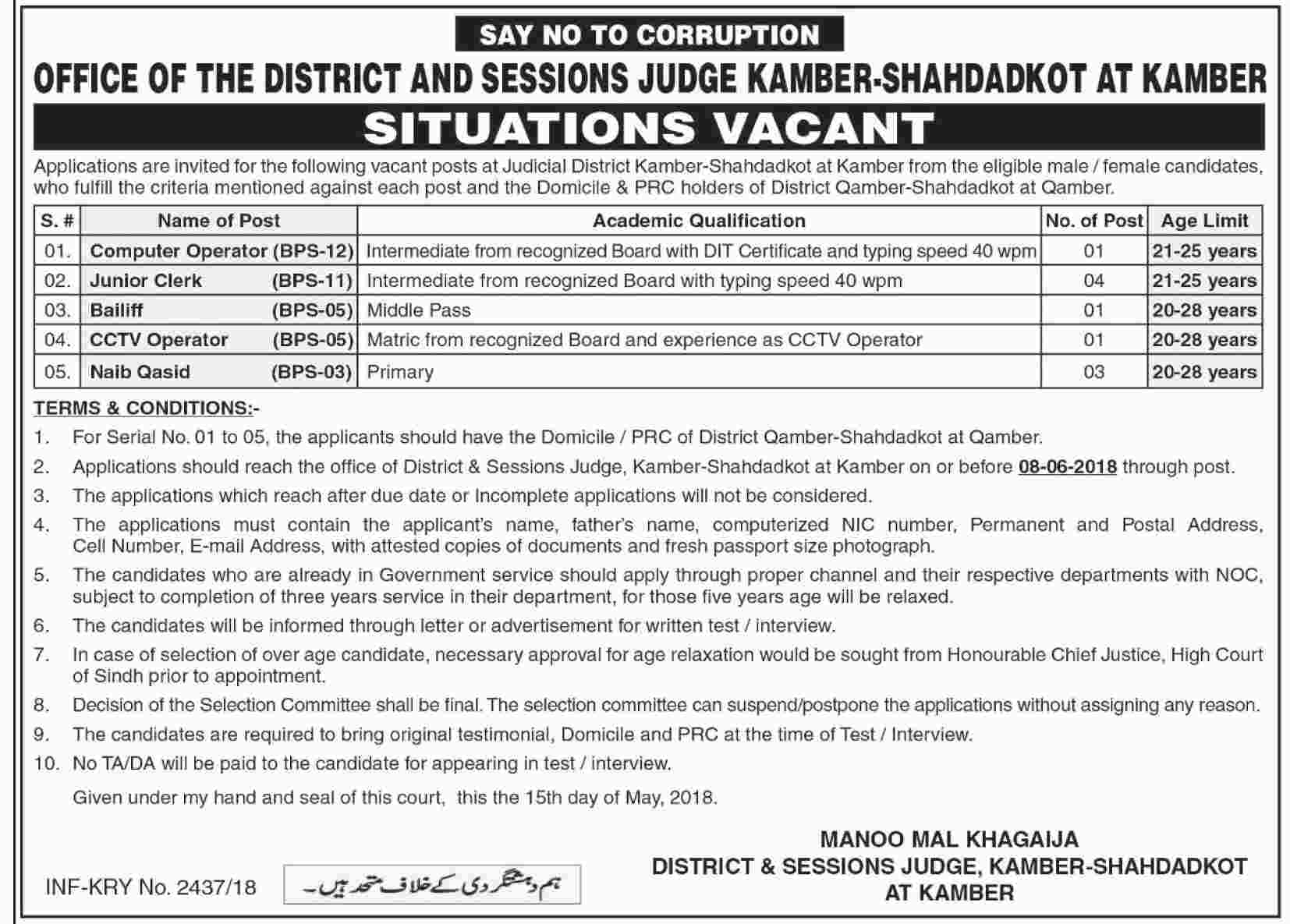 Jobs in District and Session Courts 21 May 2018