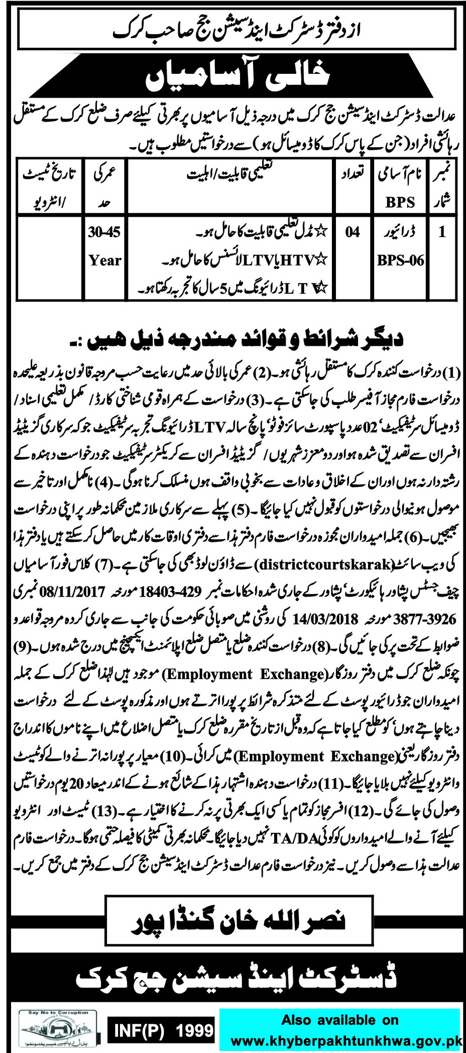 Jobs in District and Session Courts 22 April 2018