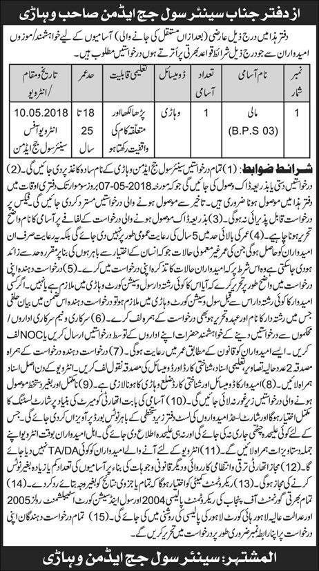 Jobs in District and Session Courts 24 April 2018
