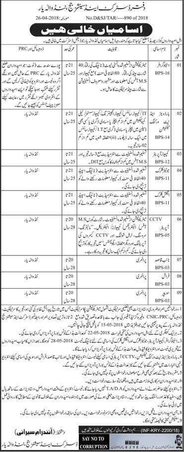 Jobs in District and Session Courts 29 April 2018