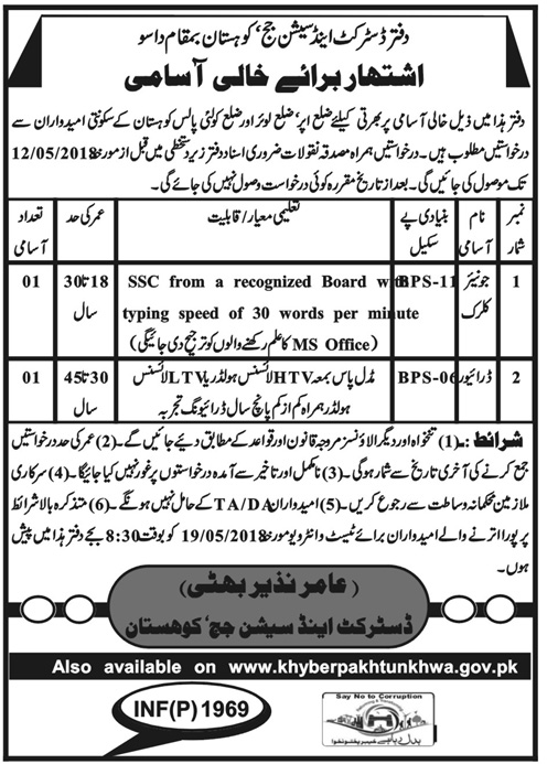 Jobs in District and Session Courts in Dasu 19 April 2018