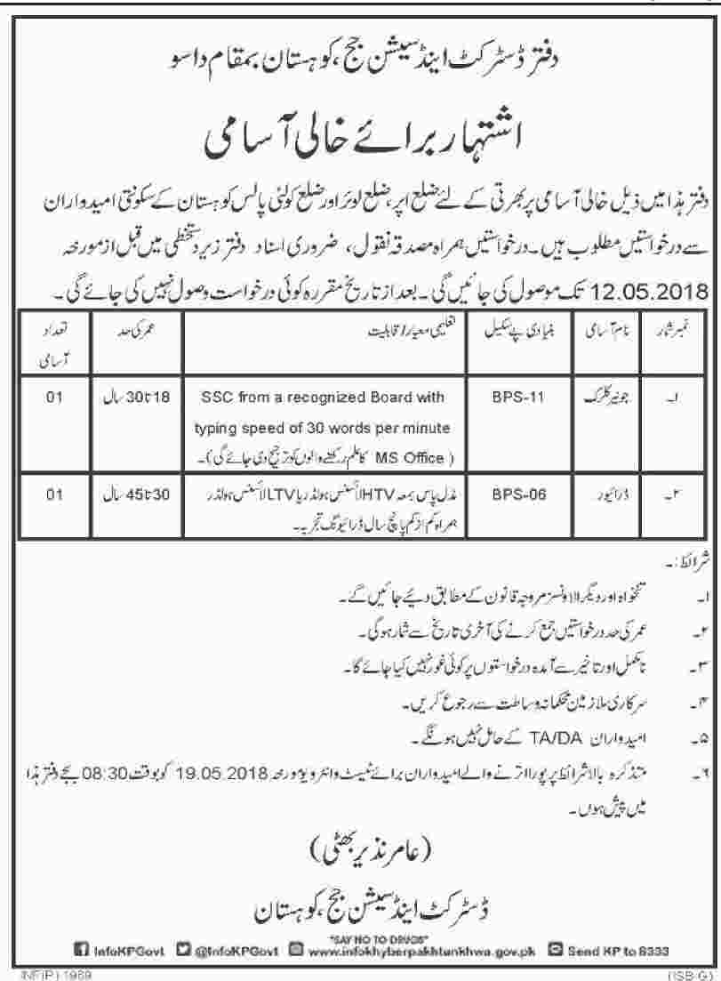 Jobs in District and Session Courts in Dasu 21 April 2018