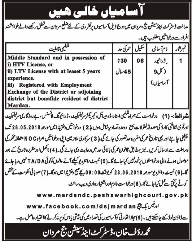 Jobs in District and Session Courts Mardan 27 April 2018