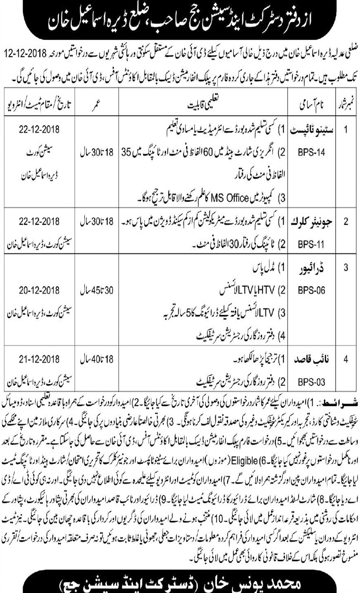 Jobs In District And Session Judge 15 Nov 2018