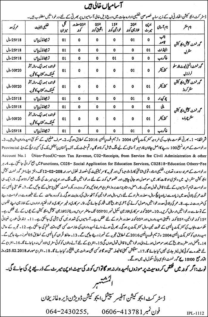 Jobs In District Education Authority Layyah 25 Jan 2018
