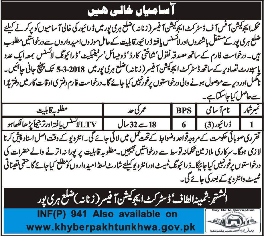 Jobs In District Education Department Haripur 23 Feb 2018