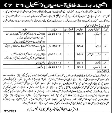 Jobs In District Education Officer Faisalabad 09 Mar 2018