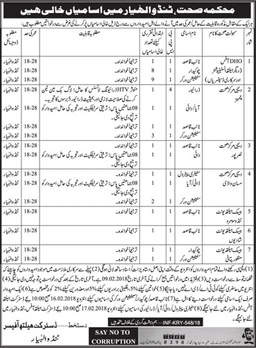 Jobs In District Health Department 02 Feb 2018