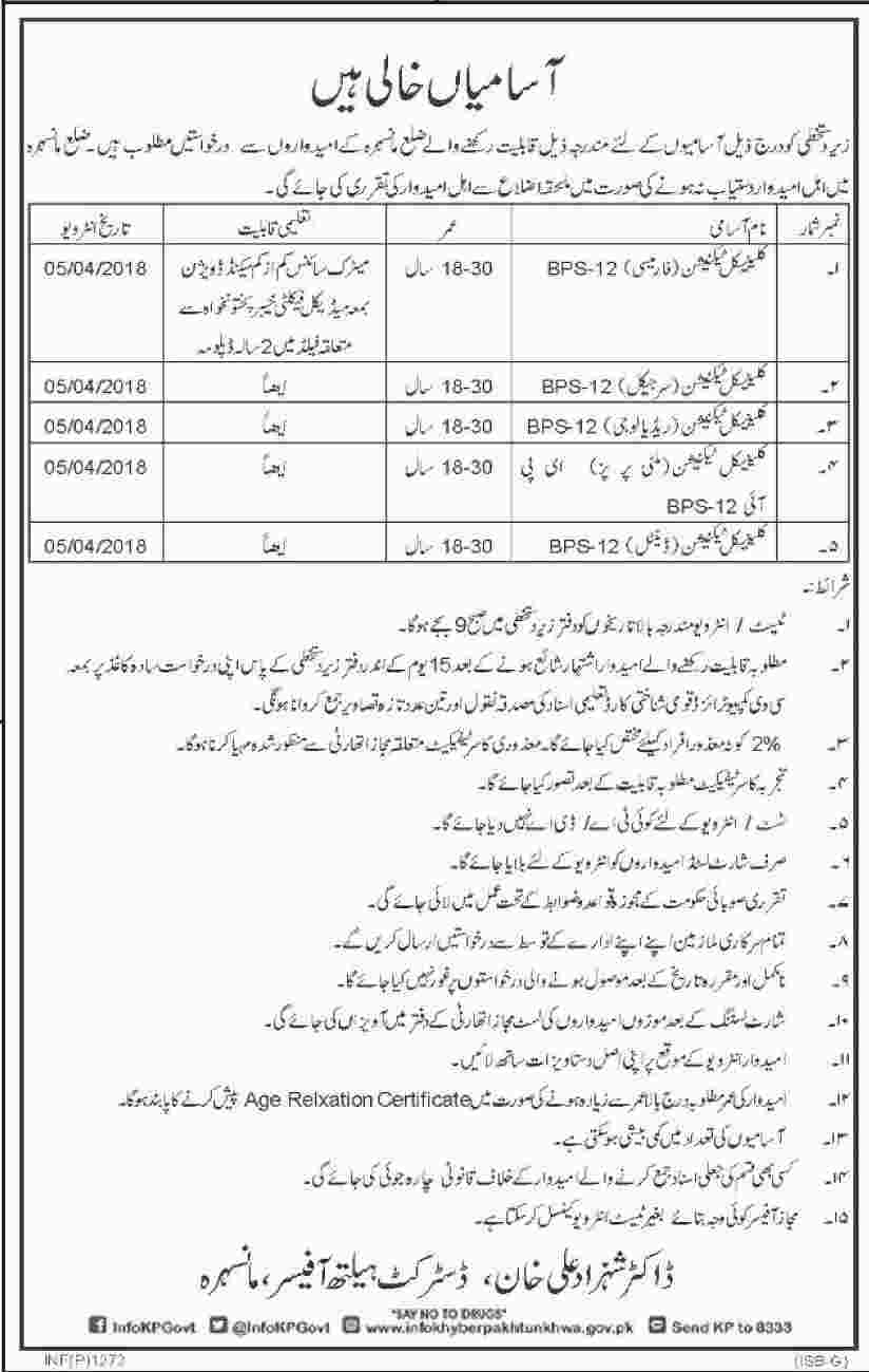 Jobs In District Health Department Of Khyber Pakhtunkhawa 20 Mar 2018