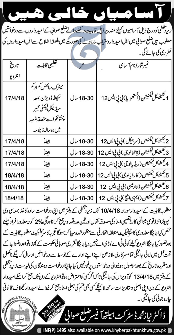 Jobs In District Health Officer Swabi 27 Mar 2018