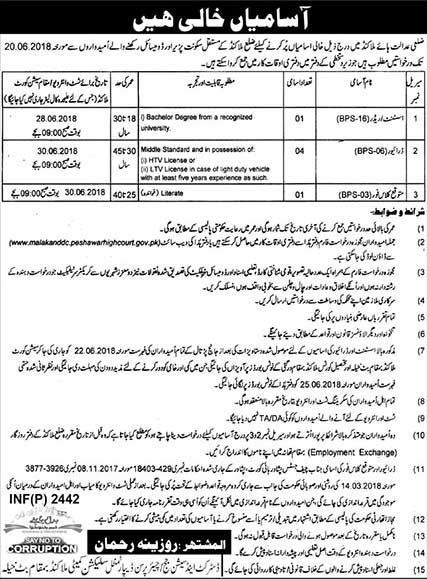 Jobs in District High Court Malakand 23 May 2018