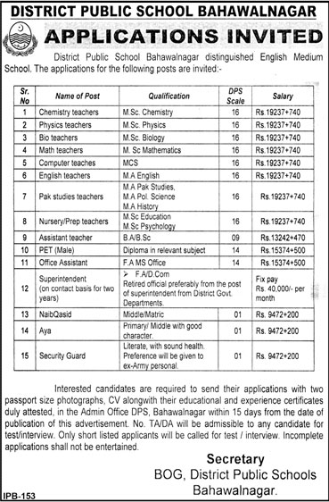 Jobs in District Public School Bahawalnagar 15 Feb 2018