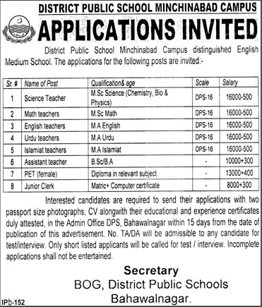 Jobs in District Public School Minchinabad Campus 15 Feb 2018
