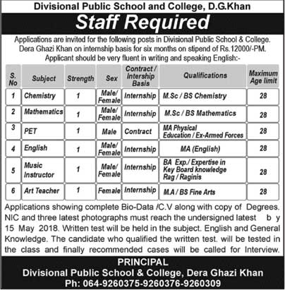 Jobs in Divisional Public School and College DG Khan 06 May 2018