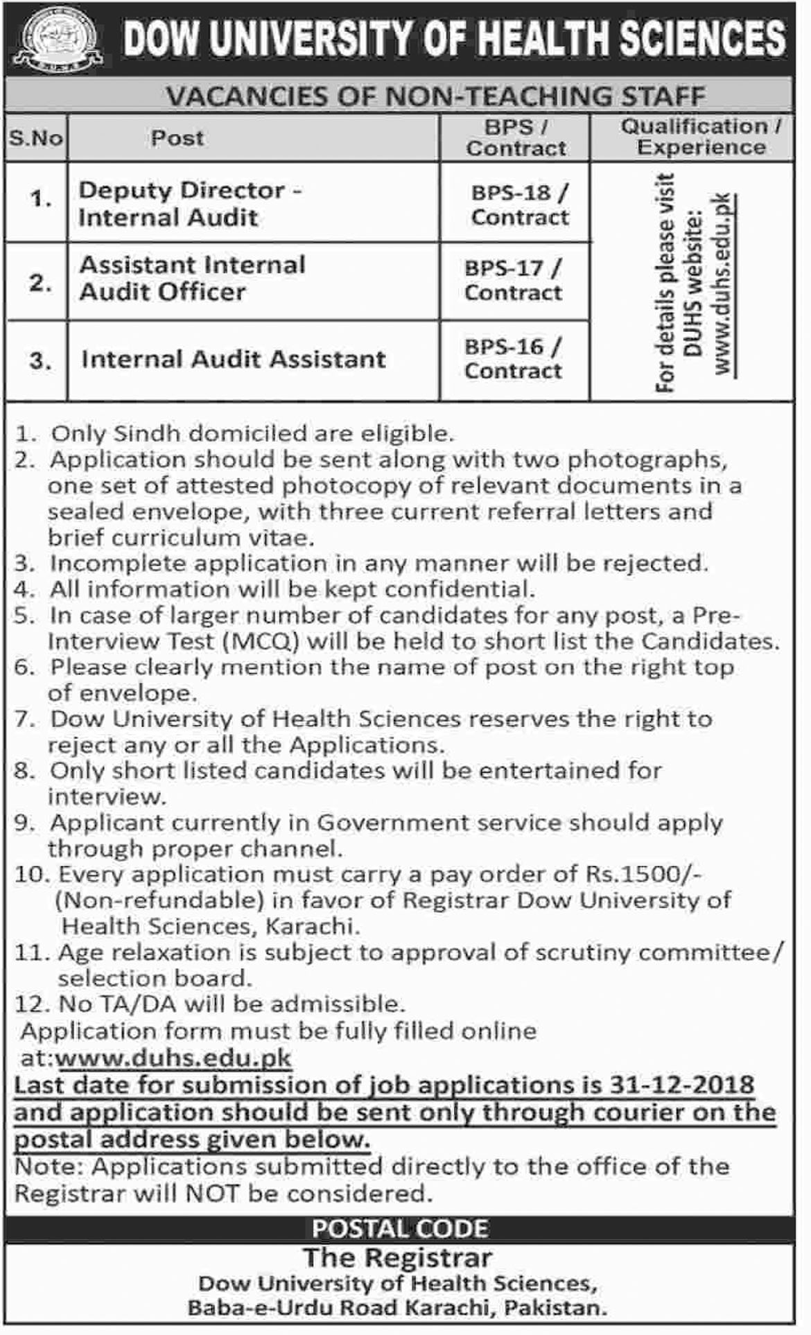 Jobs In Dow University Of Health Sciences 30 Nov 2018