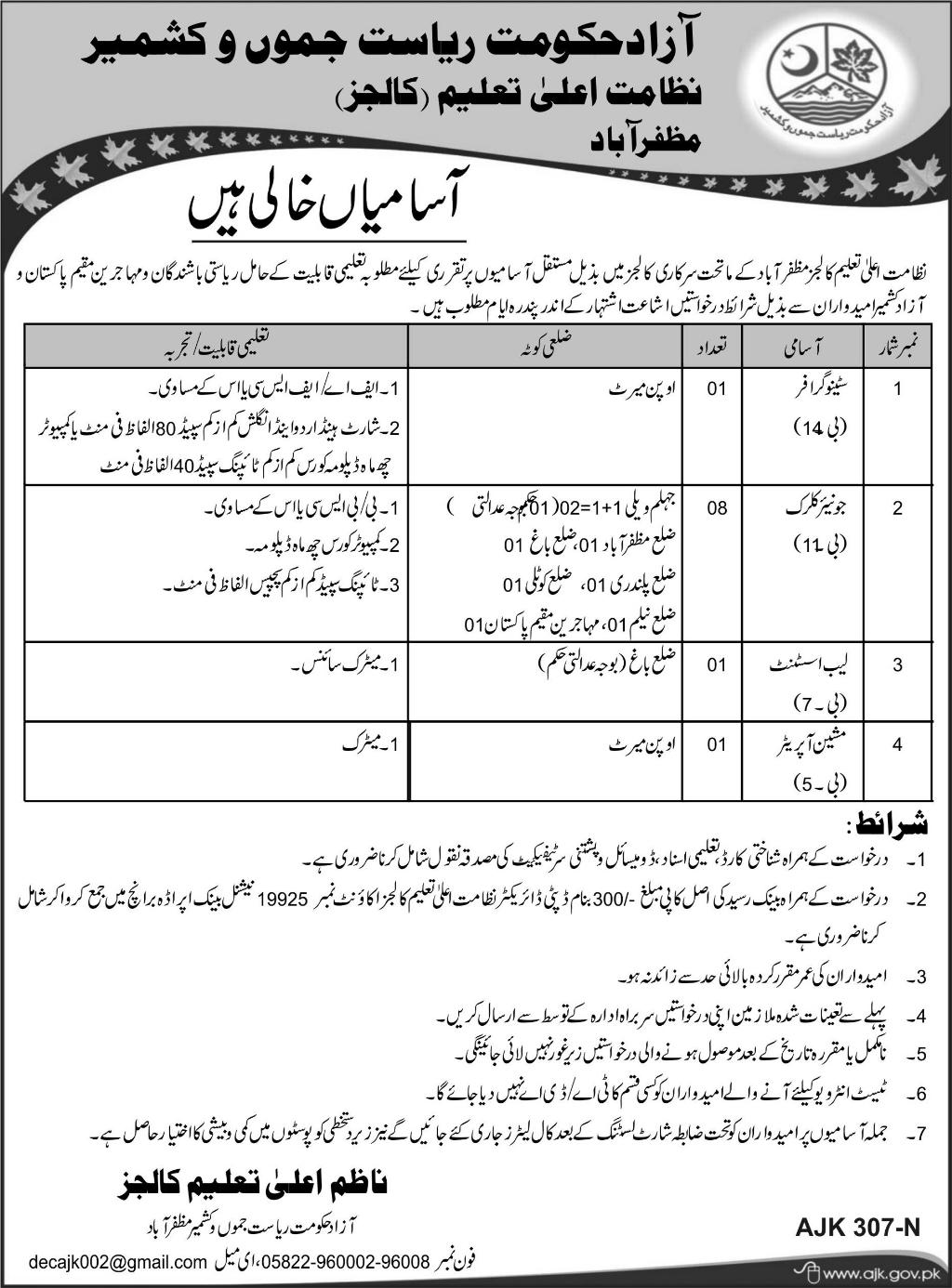Jobs In Education Department Of Govt Of Azad Kashmir 23 Jan 2018