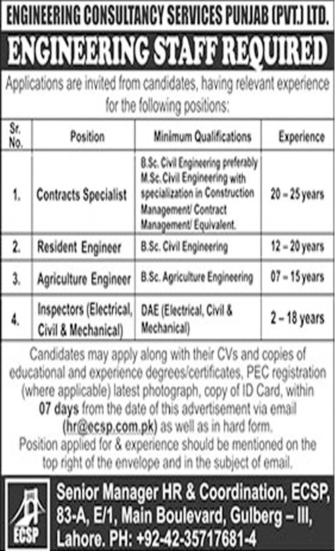 Jobs In Engineering Consultancy Services Punjab Pvt Limited 22 Oct 2018