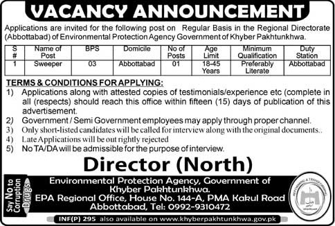 Jobs In Environmental Protection Agency Govt. Of KPK 23 Jan 2018