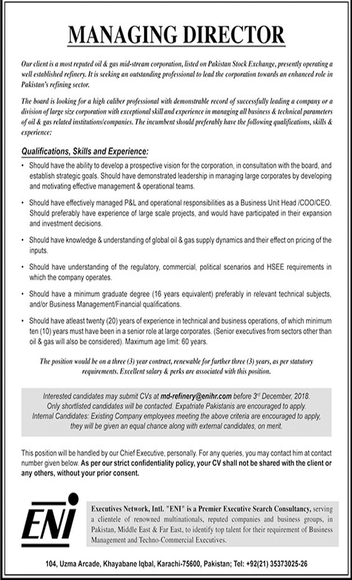 Jobs In Executive Network International 19 Nov 2018