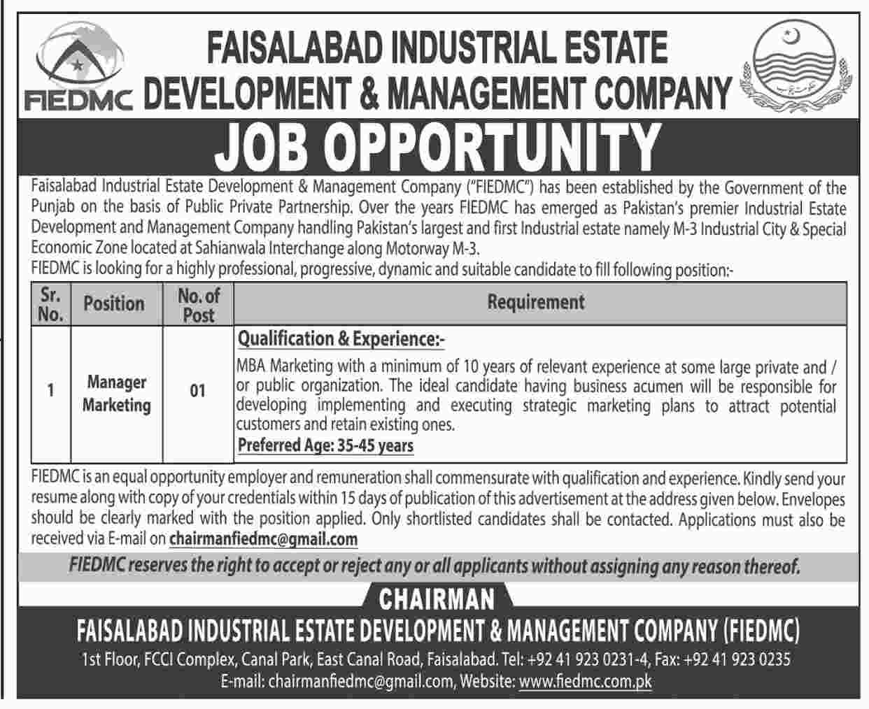 Jobs in Faisalabad Industrial Estate Development and Management Company 15 April 2018