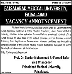 Jobs In Faisalabad Medical University 09 Mar 2018