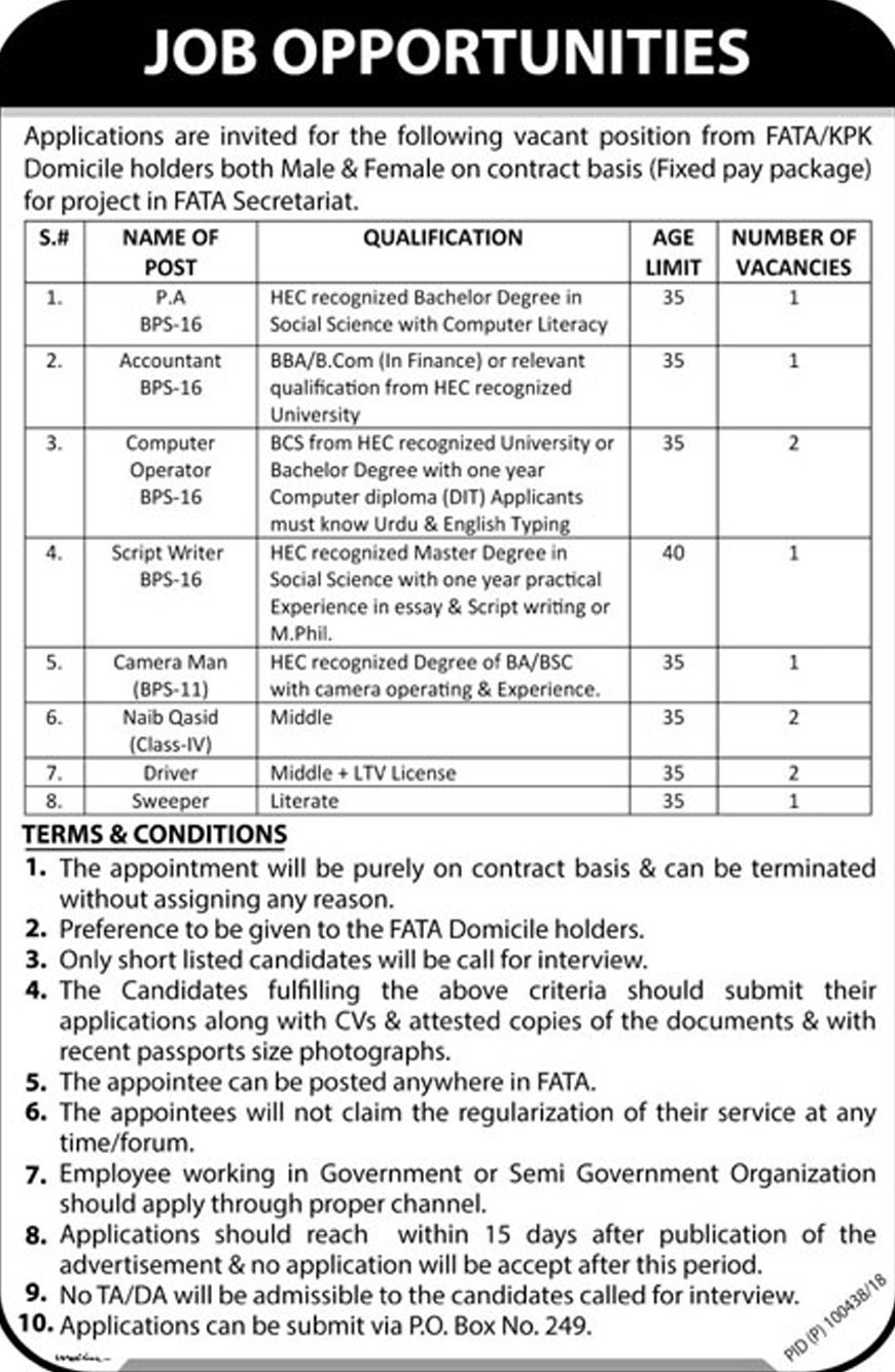 Jobs In Fata Secretariat 30 Jan 2018