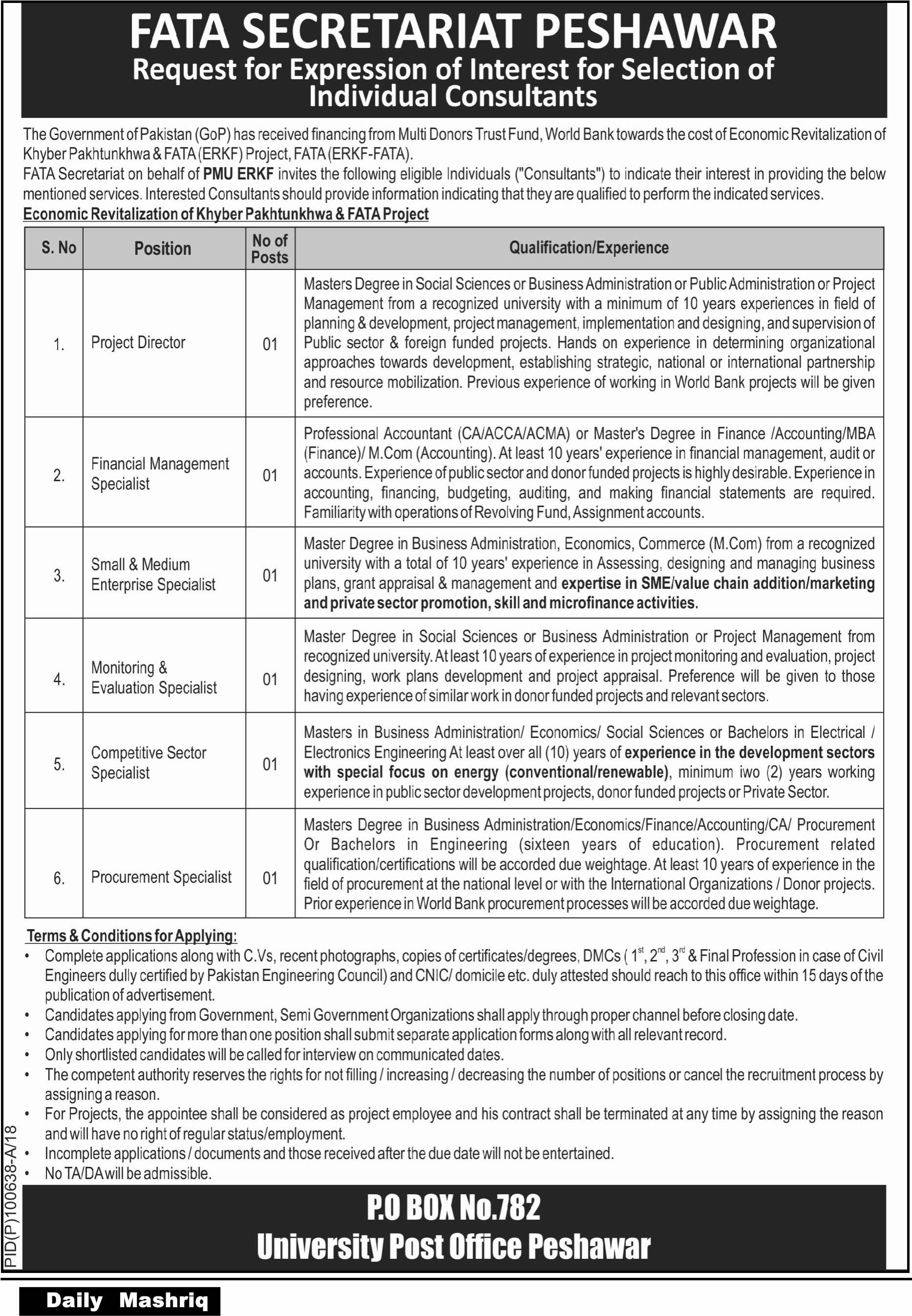 Jobs in FATA Secretariat Peshawar 20 March 2018