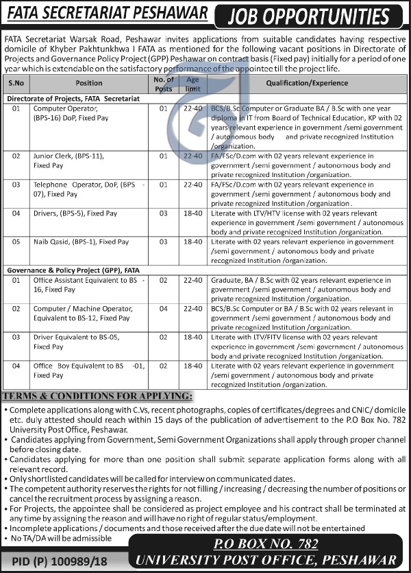 Jobs in Fata Secretariat Peshawar 30 June 2018