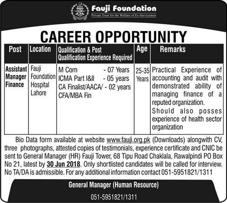 Jobs in Fauji Foundation 10 June 2018