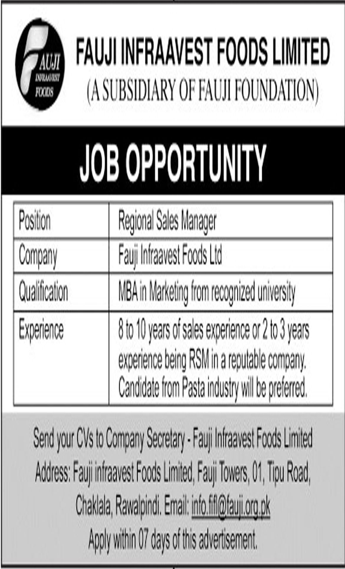 Jobs In Fauji Infraavest Foods Limited 04 Oct 2018
